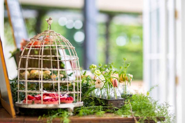 Canapes in a bird cage by Emma Migden at Hayne House