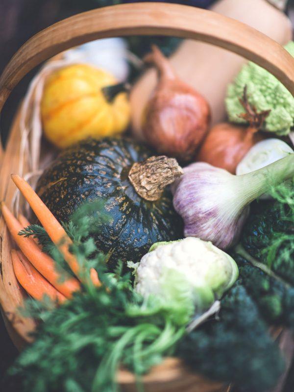 Fleur Challis Food Photography vegetables in a trug