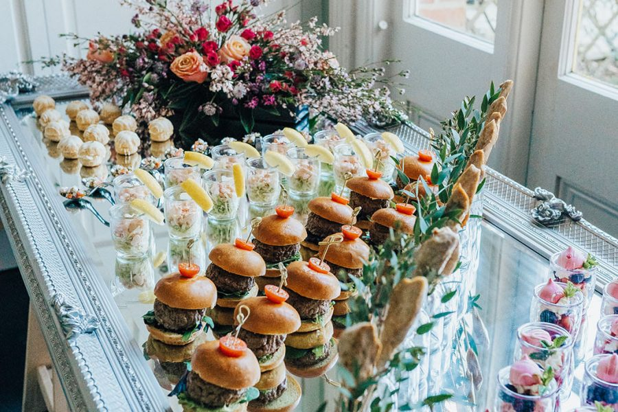 canapes on a mirror