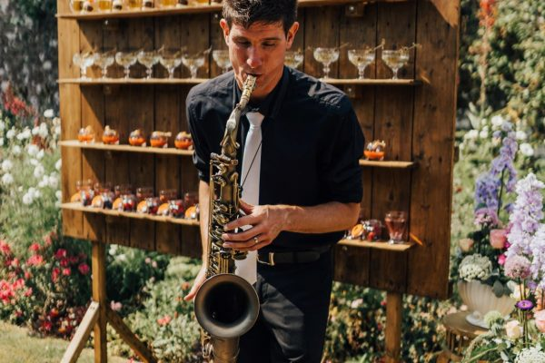 Canapes and reception drinks with Music by Dave Brazier Sax